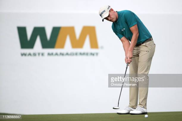 Andrew Putnam attempts a putt on the 16th green during the first round of the Waste Management Phoenix Open at TPC Scottsdale on January 31 2019 in...