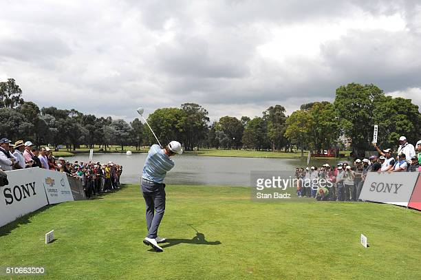 Andrew Putnam hits a drive on the tenth hole during the final round of the Webcom Tour Club Colombia Championship Presented by Claro at Bogotá...