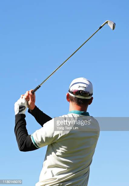 Andrew Putnam hits a tee shot on the 16th hole during the continuation of the second round of the Genesis Open at Riviera Country Club on February 16...