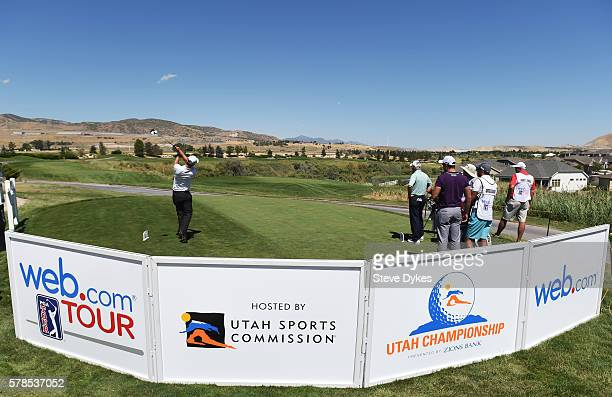 Andrew Putnam hits his drive on the 14th hole during the first round of the Utah Championship Presented by Zions Bank at Thanksgiving Point on July...