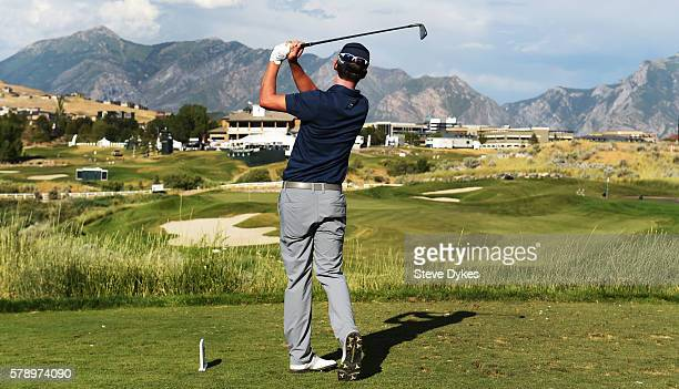 Andrew Putnam hits his drive on the seventh hole during the second round of the Utah Championship Presented by Zions Bank at Thanksgiving Point on...