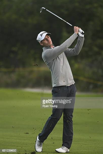 Andrew Putnam hits his second shot on the third hole during the first round of The Bahamas Great Exuma Classic at Sandals Emerald Reef Course on...