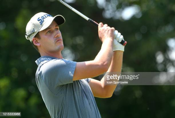 Andrew Putnam hits his shot on the tee during the third round of the PGA Championship on August 11 at Bellerive Country Club St Louis MO