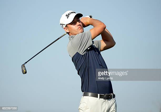 Andrew Putnam hits his tee shot on the 12th hole during the first round of The Bahamas Great Abaco Classic at Abaco Club on January 22 2017 in Great...