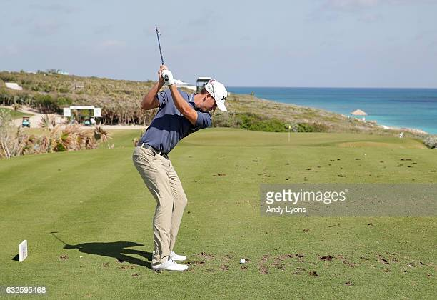 Andrew Putnam hits his tee shot on the 17th hole during the second round of The Bahamas Great Abaco Classic at the Abaco Club on January 24 2017 in...