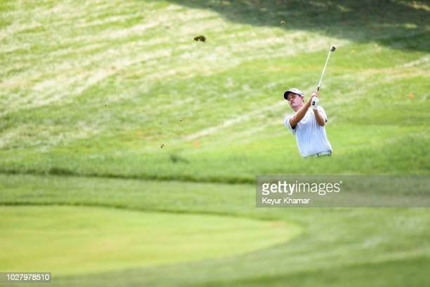 Andrew Putnam hits his third shot on the ninth hole fairway during the first round of the BMW Championship at Aronimink Golf Club on September 6 2018...