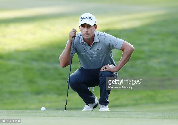 Andrew Putnam lines up a putt on the 18th hole during the final round of the Barracuda Championship at Montreux Country Club on August 5 2018 in Reno...