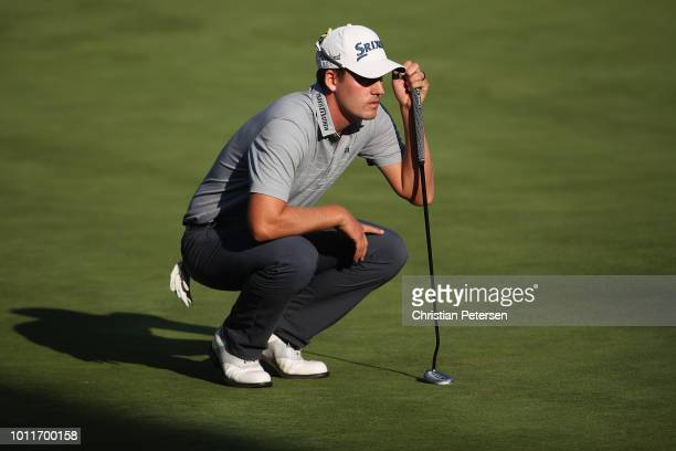 Andrew Putnam looks over the 18th green during the final round of the Barracuda Championship at Montreux Country Club on August 5 2018 in Reno Nevada