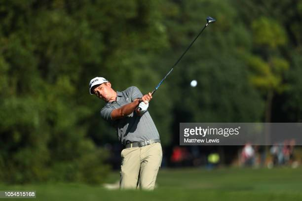 Andrew Putnam of the United States plays a shot on the 15th hole during the final round of the WGC HSBC Champions at Sheshan International Golf Club...