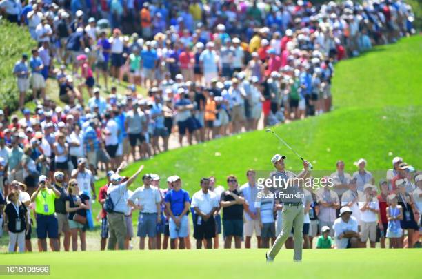Andrew Putnam of the United States plays a shot on the second hole during the third round of the 2018 PGA Championship at Bellerive Country Club on...