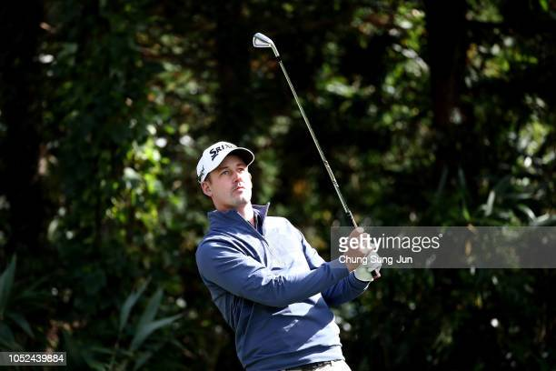 Andrew Putnam of the United States plays a tee shot on the 7th hole during the first round of the CJ Cup at the Nine Bridges on October 18 2018 in...