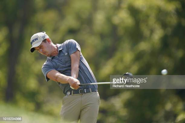 Andrew Putnam of the United States plays his shot from the 12th tee during the third round of the 2018 PGA Championship at Bellerive Country Club on...