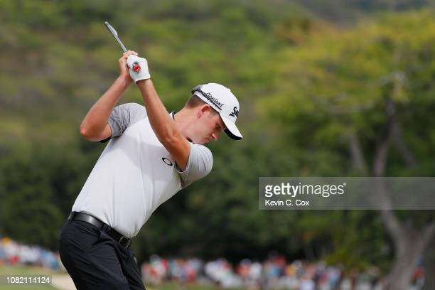 Andrew Putnam of the United States plays his shot from the fourth tee during the final round of the Sony Open In Hawaii at Waialae Country Club on...