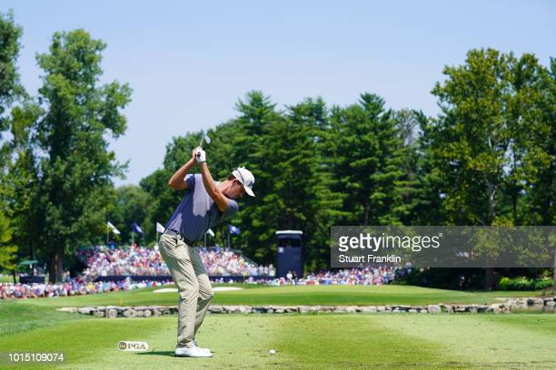 Andrew Putnam of the United States plays his shot from the third tee during the third round of the 2018 PGA Championship at Bellerive Country Club on...