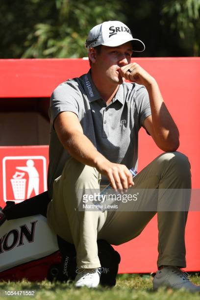 Andrew Putnam of the United States waits on the second tee during the final round of the WGC HSBC Champions at Sheshan International Golf Club on...