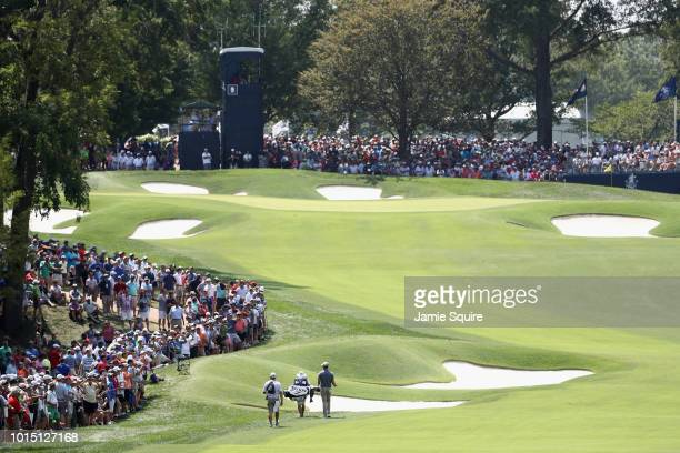 Andrew Putnam of the United States walks on the ninth hole during the third round of the 2018 PGA Championship at Bellerive Country Club on August 11...
