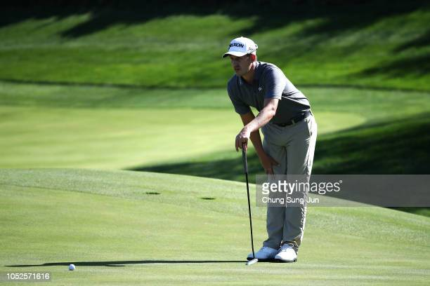 Andrew Putnam of United States looks over a green on the 6th hole during the third round of the CJ Cup at the Nine Bridges on October 20 2018 in Jeju...