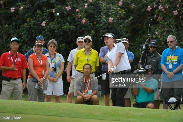 Andrew Putnam plays a shot on the sixth hole during the final round of the Sony Open in Hawaii at Waialae Country Club on January 13 2019 in Honolulu...