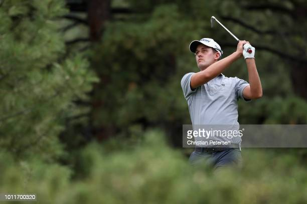 Andrew Putnam plays a tee shot on the 16th hole during the final round of the Barracuda Championship at Montreux Country Club on August 5 2018 in...