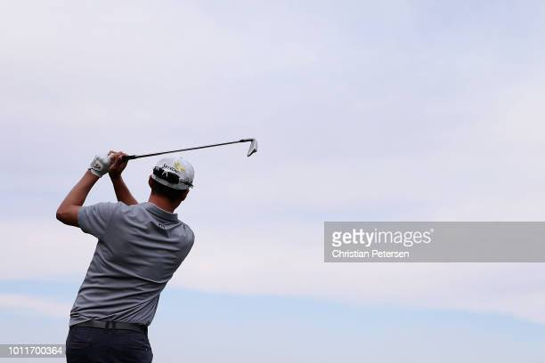 Andrew Putnam plays a tee shot on the 17th hole during the final round of the Barracuda Championship at Montreux Country Club on August 5 2018 in...