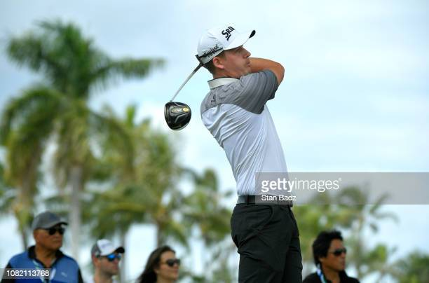 Andrew Putnam plays a tee shot on the second hole during the final round of the Sony Open in Hawaii at Waialae Country Club on January 13 2019 in...