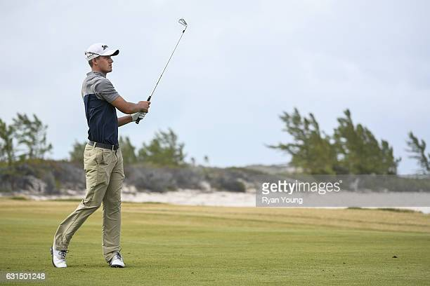 Andrew Putnam plays an approach shot on the 12th hole during the final round of The Bahamas Great Exuma Classic at Sandals Emerald Bay Course on...