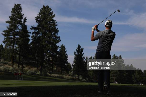 Andrew Putnam plays his second shot on the 18th hole during the final round of the Barracuda Championship at Montreux Country Club on August 5 2018...