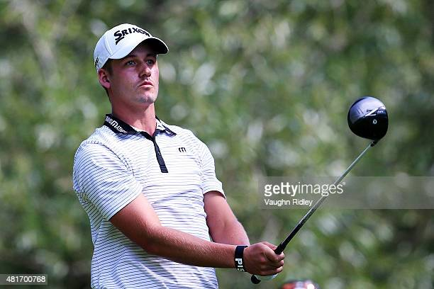 Andrew Putnam plays his shot from the 14th tee during round one of the RBC Canadian Open on July 23 2015 at Glen Abbey Golf Club in Oakville Canada