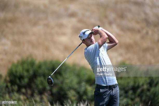 Andrew Putnam plays his shot from the 17th tee during the final round of the Webcom Tour Ellie Mae Classic at TPC Stonebrae on August 6 2017 in...