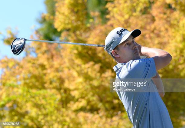 Andrew Putnam plays his shot from the first tee during the final round of the Safeway Open at the North Course of the Silverado Resort and Spa on...