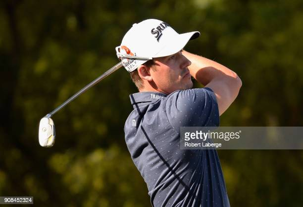 Andrew Putnam plays his shot from the second tee during the final round of the CareerBuilder Challenge at the TPC Stadium Course at PGA West on...