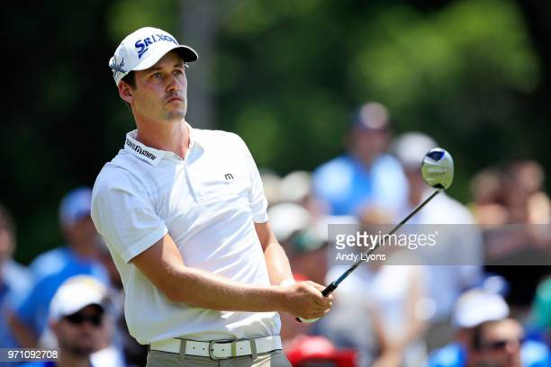 Andrew Putnam plays his shot from the second tee during the final round of the FedEx St Jude Classic at TPC Southwind on June 10 2018 in Memphis...