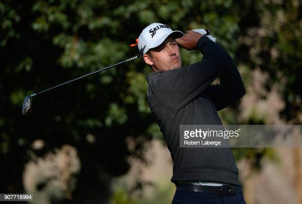 Andrew Putnam plays his shot from the second tee during the third round of the CareerBuilder Challenge at La Quinta Country Club on January 20 2018...