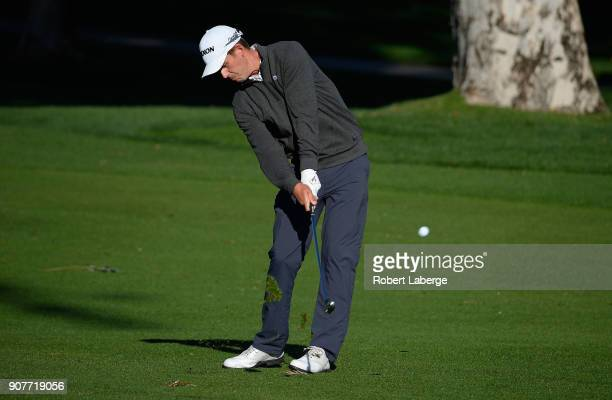 Andrew Putnam plays his shot on the second hole during the third round of the CareerBuilder Challenge at La Quinta Country Club on January 20 2018 in...