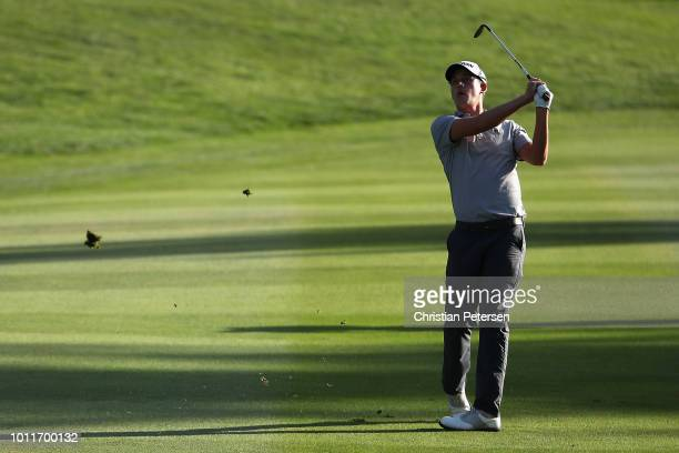 Andrew Putnam plays his third shot on the 18th hole during the final round of the Barracuda Championship at Montreux Country Club on August 5 2018 in...