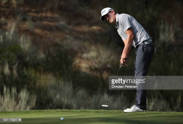 Andrew Putnam putts on the 17th green during the final round of the Barracuda Championship at Montreux Country Club on August 5 2018 in Reno Nevada