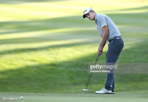 Andrew Putnam putts on the 18th hole during the final round of the Barracuda Championship at Montreux Country Club on August 5 2018 in Reno Nevada