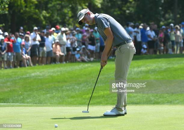 Andrew Putnam putts on the green during the third round of the PGA Championship on August 11 at Bellerive Country Club St Louis MO