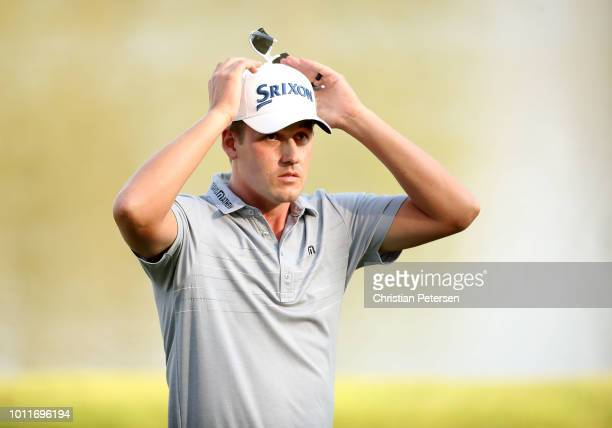 Andrew Putnam reacts after putting in for birdie on the 18th hole during the final round of the Barracuda Championship at Montreux Country Club on...