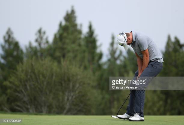 Andrew Putnam reacts to a missed putt on the 16th green during the final round of the Barracuda Championship at Montreux Country Club on August 5...