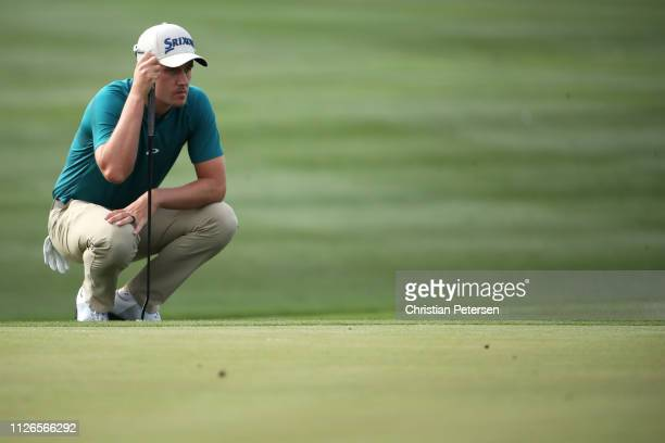 Andrew Putnam reads the 15th green during the first round of the Waste Management Phoenix Open at TPC Scottsdale on January 31 2019 in Scottsdale...