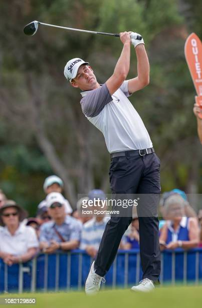 Andrew Putnam tees off at the 1st hole of the final round of the Sony Open on January 13 at the Waialae Country Club in Honolulu HI