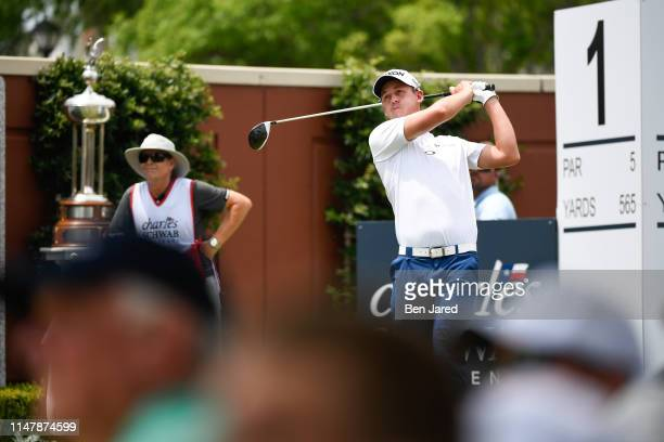 Andrew Putnam tees off on the first tee box during the final round of the Charles Schwab Challenge at Colonial Country Club on May 26 2019 in Fort...