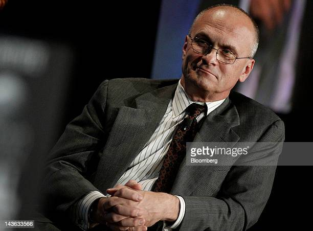 Andrew Puzder chief executive officer of CKE Restaurants Inc listens during a panel discussion at the annual Milken Institute Global Conference in...