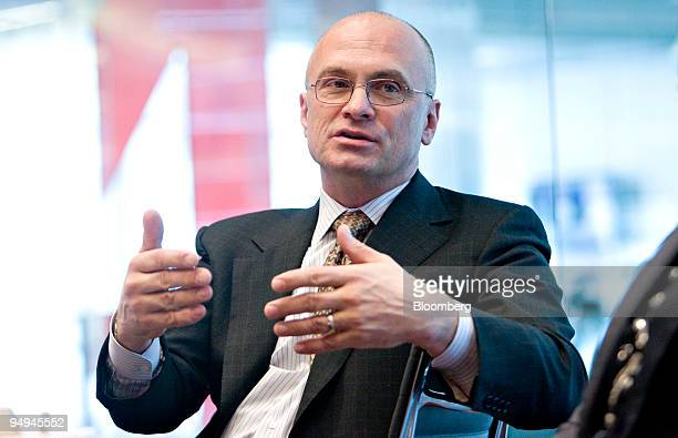 Andrew Puzder chief executive officer of CKE Restaurants Inc speaks during an editorial board meeting in New York US on Tuesday March 10 2009 CKE...