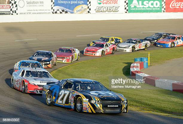 Andrew Ranger driver of the Mopar/Pennzoil/Mopar Express Lane Dodge leads the race at the Velocity Prairie Thunder 250 at Wyant Group Raceway on July...