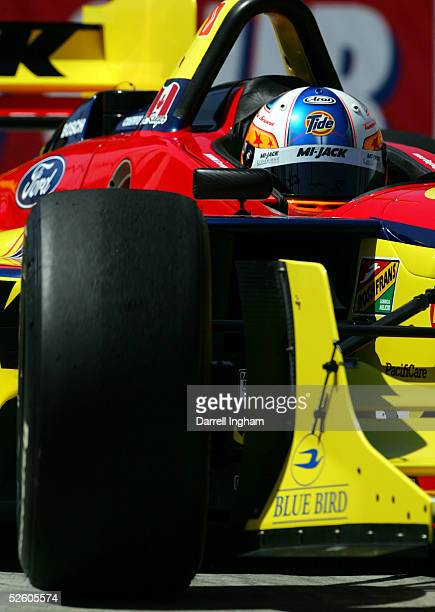 Andrew Ranger drives the MiJack Conquest Ford Cosworth Lola during practice for the ChampCar World Series Toyota Grand Prix of Long Beach on April 8...