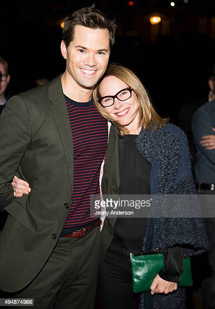 Andrew Rannells and Amy Ryan backstage at 'Hamilton' at the Richard Rodgers Theatre on October 29 2015 in New York City