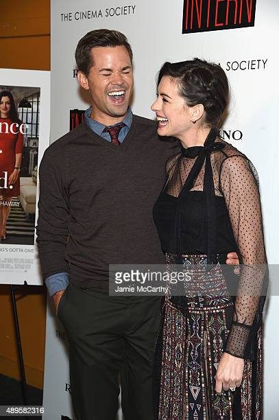Andrew Rannells and Anne Hathaway attend a screening of Warner Bros Pictures The Intern hosted by The Cinema Society And Ruffino on September 22 2015...
