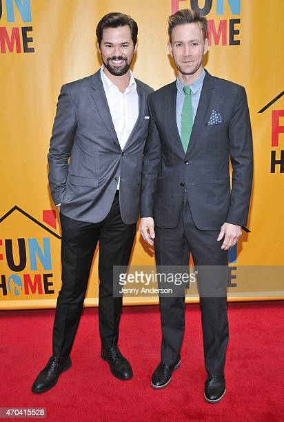 Andrew Rannells and Christopher J Hanke attend opening night of Fun Home at Circle in the Square Theatre on April 19 2015 in New York City